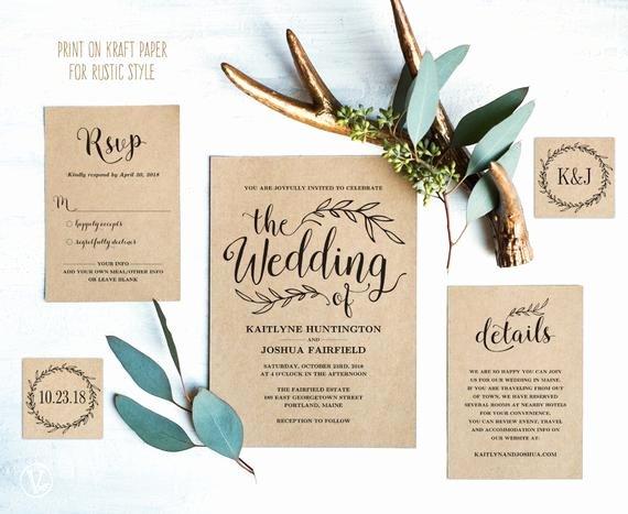 Vintage Wedding Invites Templates Lovely Vintage Wedding Invitation Suite Printable Wedding Invitation
