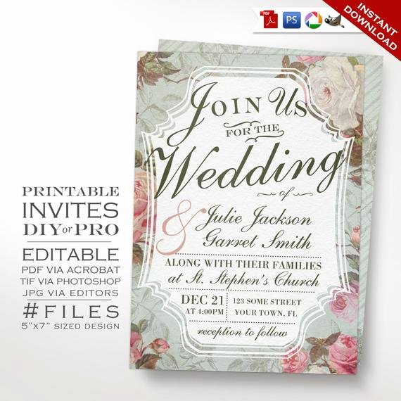 Vintage Wedding Invites Templates Lovely Wedding Invitation Template Vintage Rose Wedding Invitation