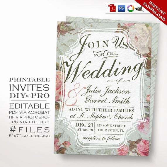 Vintage Wedding Invites Templates Lovely Wedding Invitation Template Vintage Rose Wedding Invitation