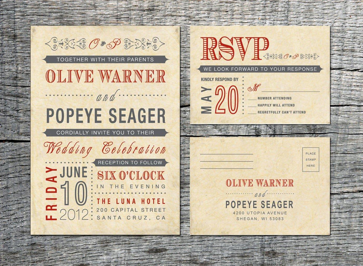 Vintage Wedding Invites Templates Luxury Vintage Wedding Invitation & Rsvp Card Old Fashioned Style