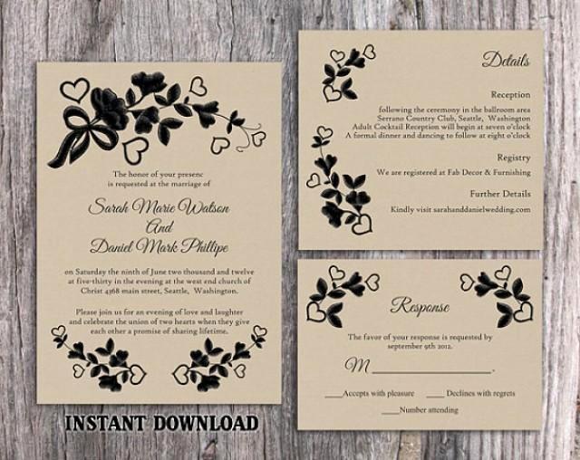 Vintage Wedding Invites Templates Unique Diy Lace Wedding Invitation Template Set Editable Word