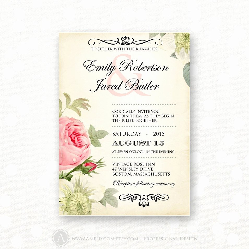 printable wedding invitation pink roses