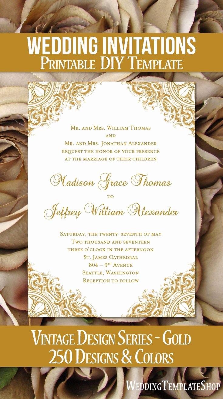 Vintage Wedding Invites Templates Unique Vintage Wedding Invitation Gold In 2019