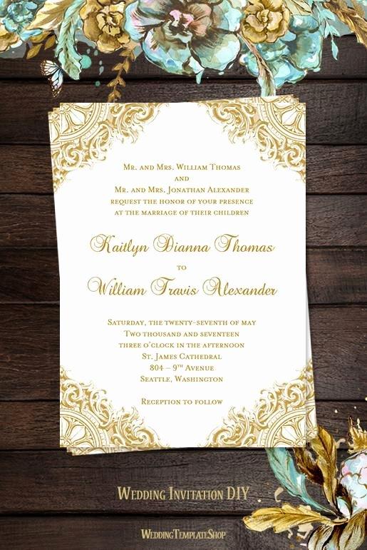 Vintage Wedding Invites Templates Unique Vintage Wedding Invitation Gold Wedding Template Shop