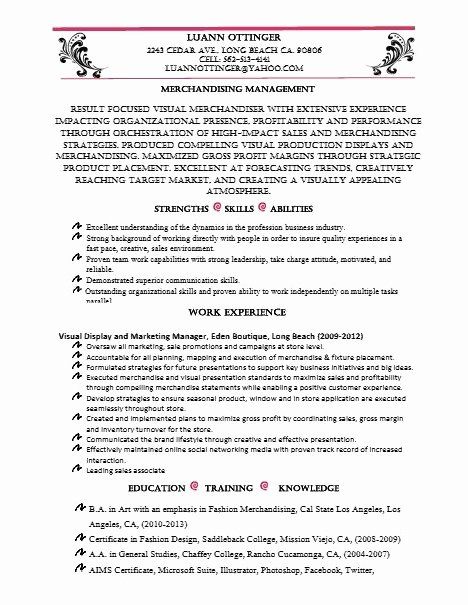 Visual Merchandising Resume Samples Best Of Resume