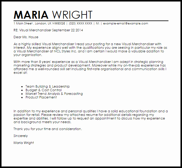 Visual Merchandising Resume Samples Fresh Visual Merchandising Internship Cover Letter Customer Feedback