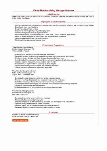 Visual Merchandising Resume Samples Unique Visual Merchandising Manager Resume
