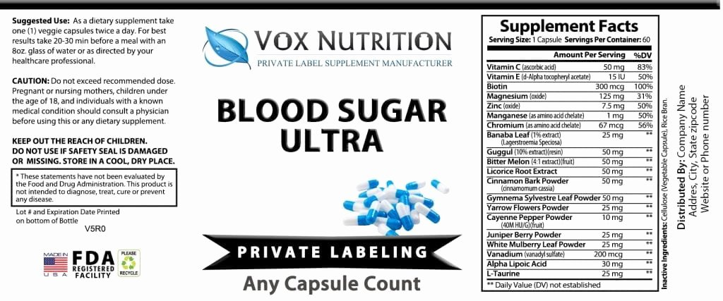 Vitamin Water Label Template Best Of Private Label Blood Sugar Ultra Vitamin Supplement Vox Nutrition