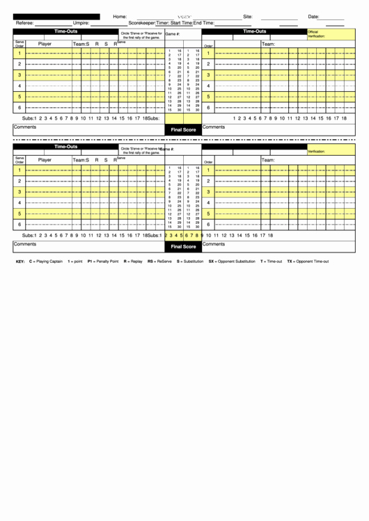 Volleyball Stat Sheets Printable Awesome Nfhs Volleyball Scoresheet Printable Pdf