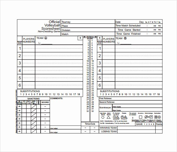 Volleyball Stat Sheets Printable Beautiful Free 11 Sample Volleyball Score Sheets In Google Docs