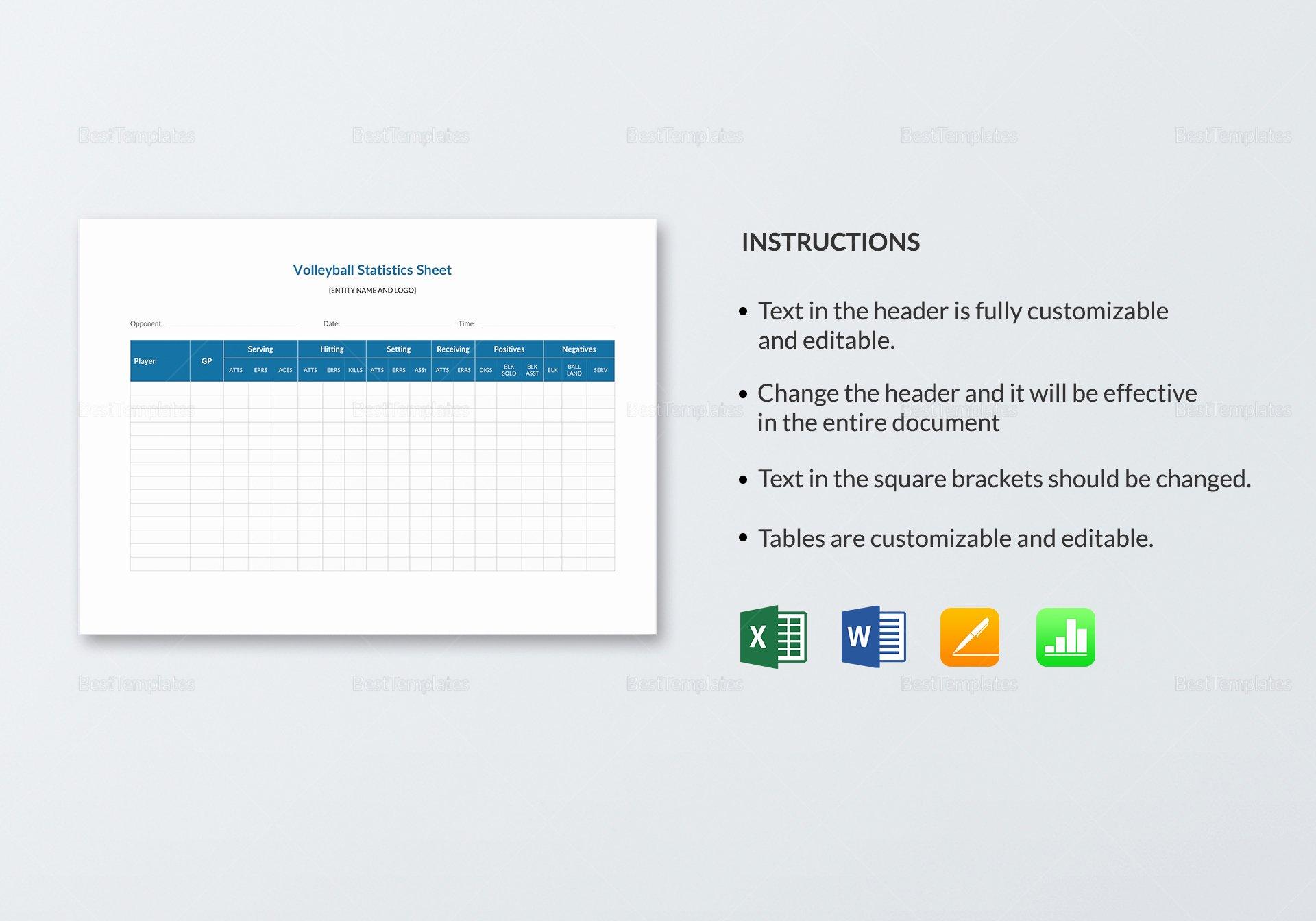 Volleyball Statistics Sheet Template Fresh Volleyball Stat Sheet Template In Word Excel Apple Pages