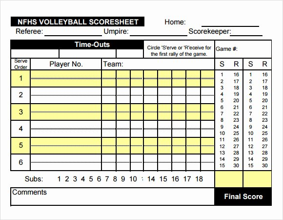 Volleyball Statistics Sheet Template Inspirational Free 11 Sample Volleyball Score Sheets In Google Docs