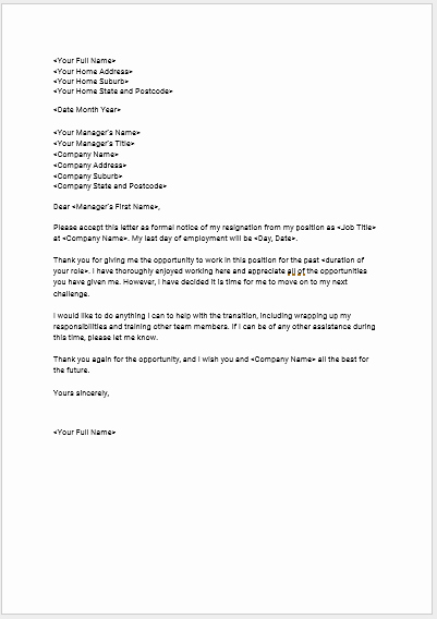 Voluntary Resignation form Template Awesome Download Seek S Free Standard Resignation Letter Template Seek Career Advice