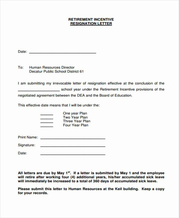 Voluntary Resignation form Template Best Of 12 Retirement Resignation Letter Template Free Word Pdf format Download