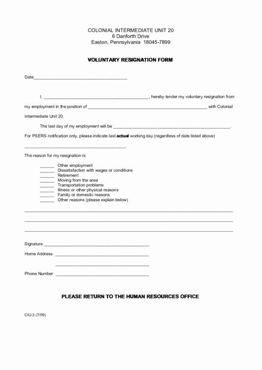 Voluntary Resignation form Template Elegant Voluntary Resignation form Printable Pdf