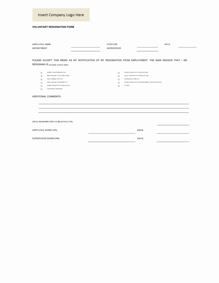 Voluntary Resignation form Template New Voluntary Resignation form In Word and Pdf formats