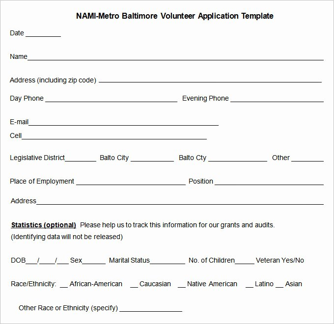 Volunteer Application form Pdf Inspirational 10 Volunteer Application Template Word Pdf