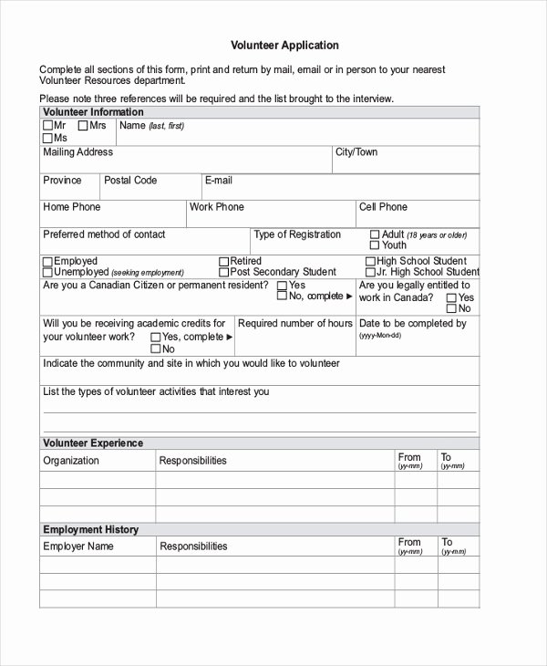 Volunteer Application form Pdf Inspirational Free 9 Volunteer Application forms In Word