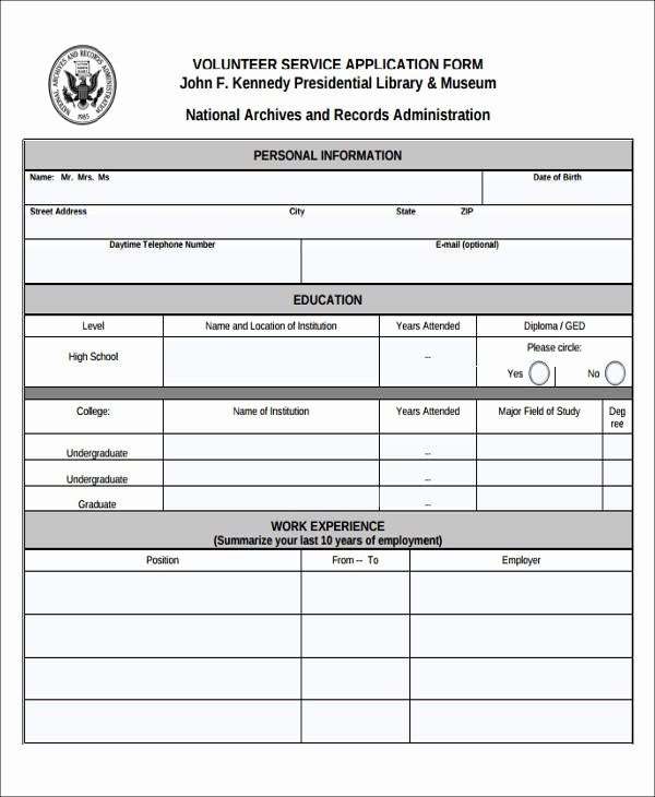 Volunteer Application form Pdf Lovely 39 Service forms In Pdf