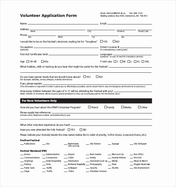 Volunteer Application form Pdf Luxury 10 Volunteer Application Templates Free Sample Example format Download