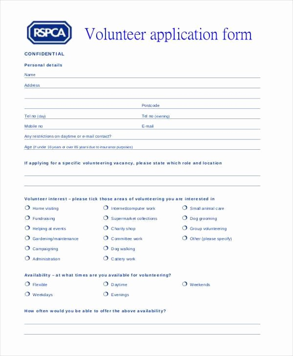 Volunteer Application form Pdf New Free 44 Basic Application forms