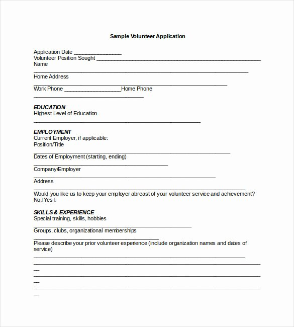 Volunteer Application form Pdf Unique Application Templates – 20 Free Word Excel Pdf Documents Download