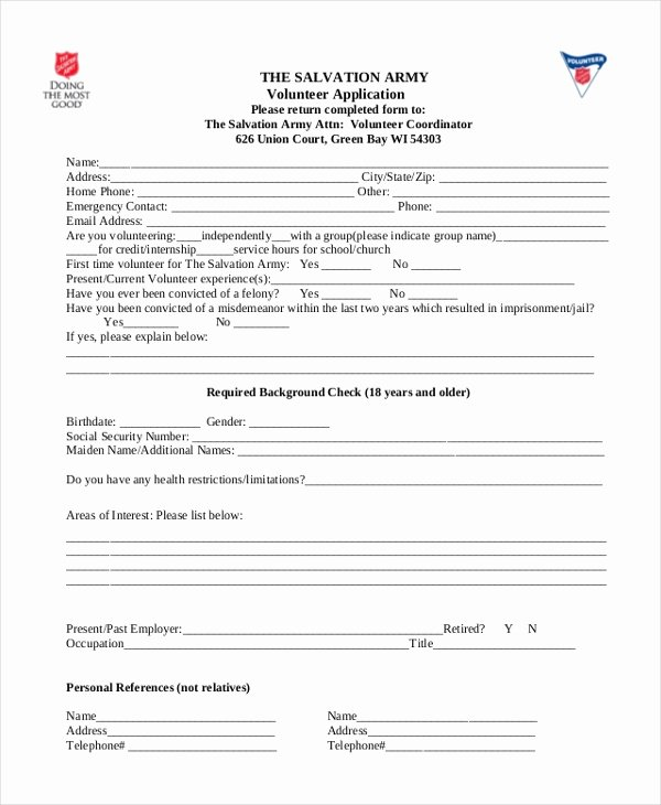 Volunteer Application form Pdf Unique Free 8 Sample Volunteer Application forms In Sample Example format