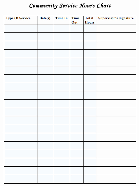 Volunteer Hours Log Template Awesome Generic Munity Service Log Sheet Useful for Earning the Cap Munity Service Award