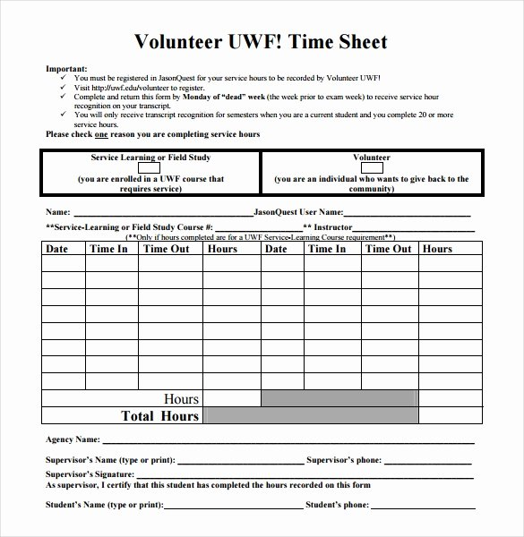 Volunteer Hours Log Template Excel Luxury 18 Volunteer Timesheet Templates – Free Sample Example format Download
