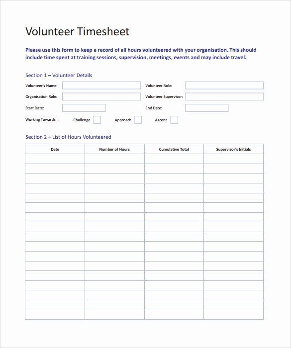 Volunteer Hours Log Template Luxury Free 10 Volunteer Timesheet Samples In Google Docs Google Sheets Ms Excel