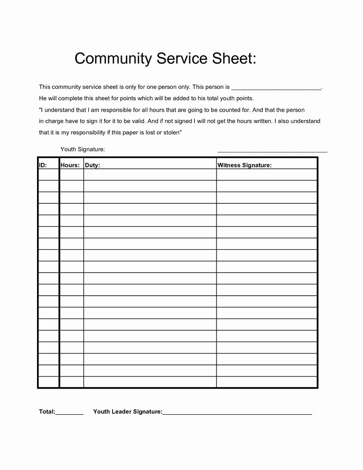 Volunteer Hours Log Template Luxury Munity Service Hours Sheet Projects to Try Pinterest