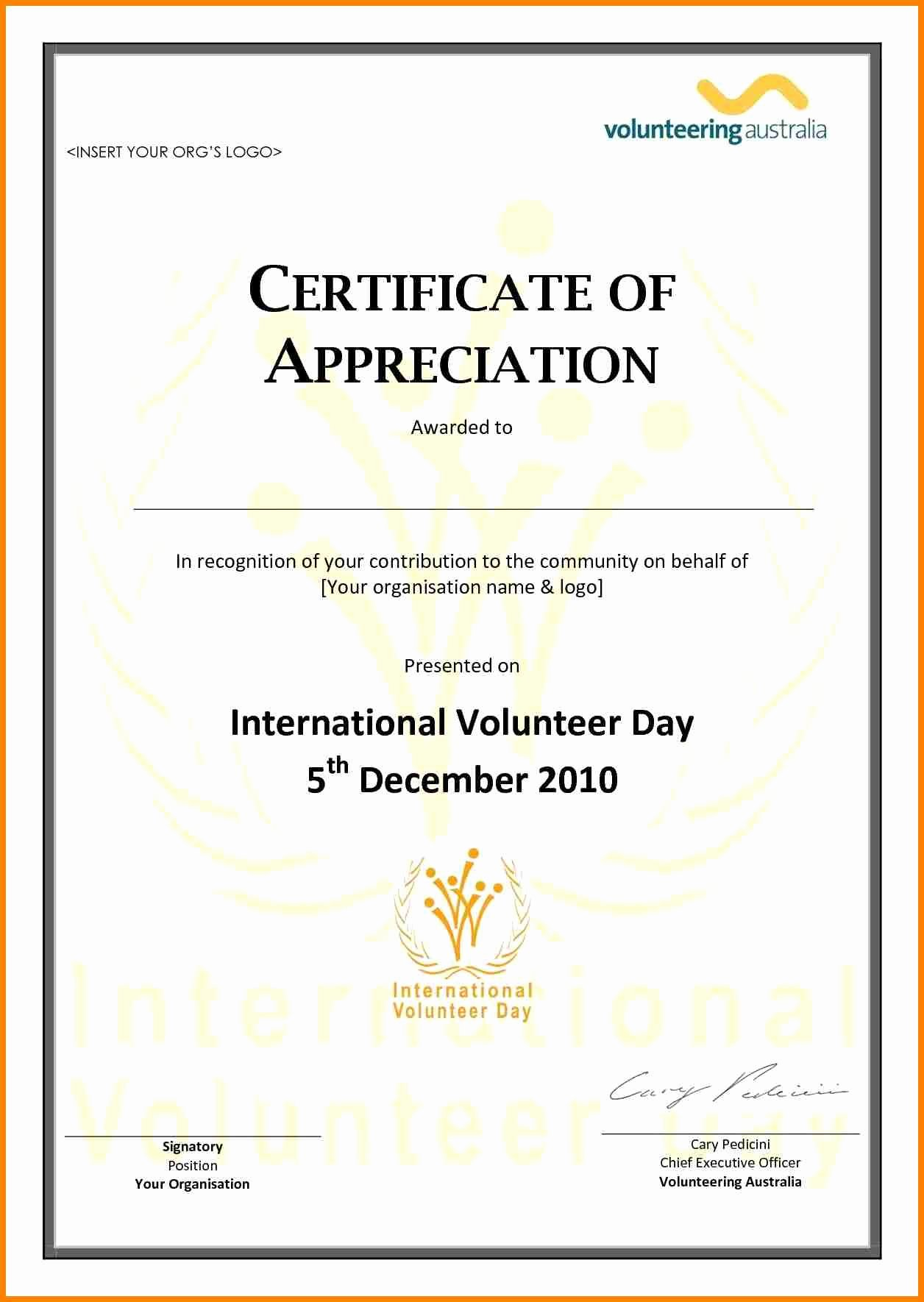 Volunteer Letter Of Appreciation Inspirational Volunteer Appreciation Certificate Template