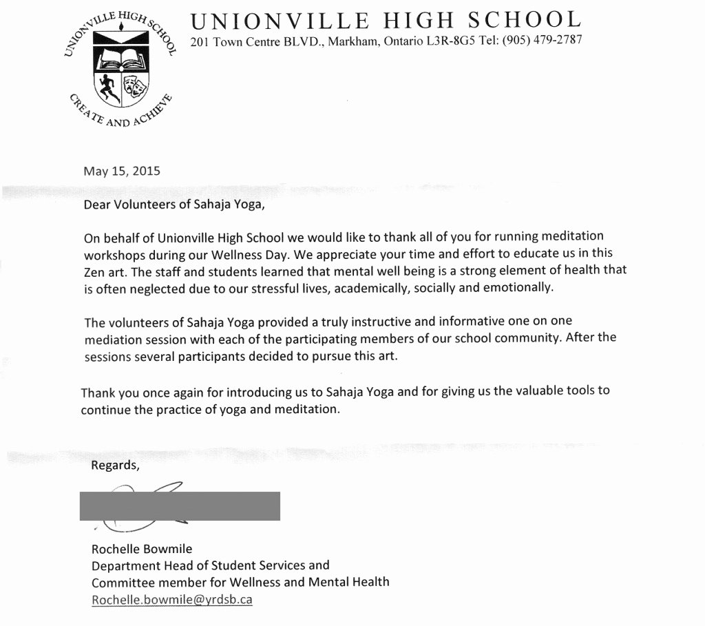 Volunteer Letter Of Appreciation Luxury S too Thank You Letter for 10 Inner Peace Workshops Unionville Highschool's Wellness