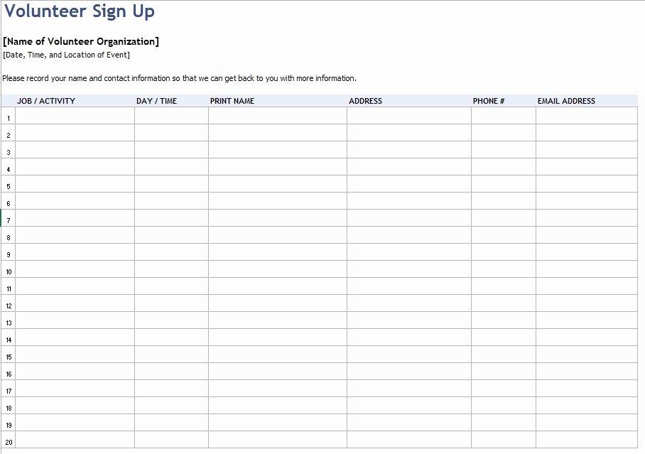 Volunteer Log Sheet Template Beautiful 9 Free Sample Volunteer Sign Up Sheet Templates Printable Samples