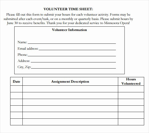 Volunteer Log Sheet Template Beautiful Volunteer Hour forms Template