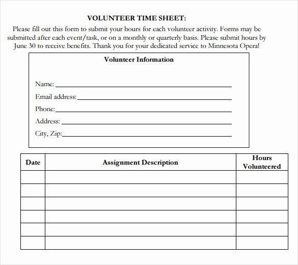 Volunteer Log Sheet Template Beautiful Volunteer Hour forms Template