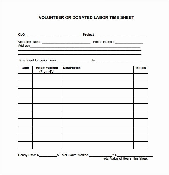 Volunteer Log Sheet Template Best Of 10 Volunteer Timesheet Samples