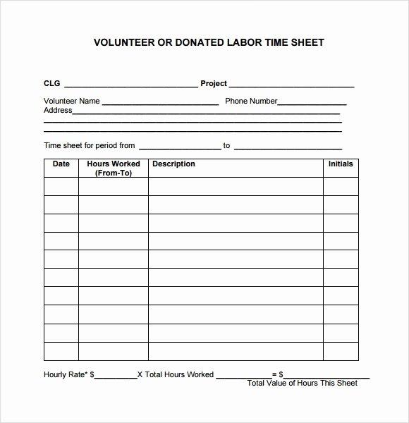 Volunteer Log Sheet Template Best Of 10 Volunteer Timesheet Samples