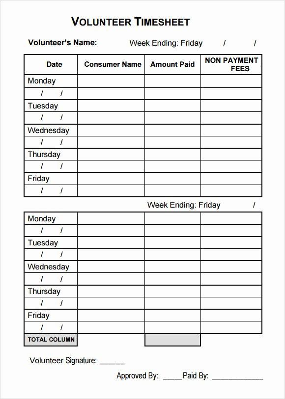Volunteer Log Sheet Template Elegant Volunteer Timesheet Template 7 Free Samples Examples format