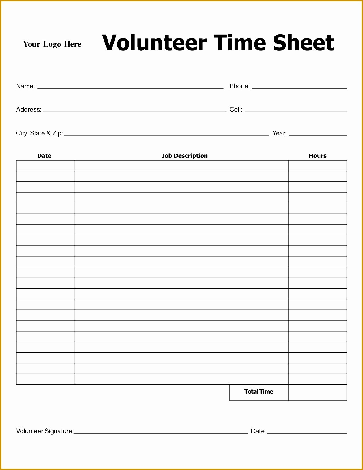 Volunteer Log Sheet Template Luxury 4 Volunteer Log Template
