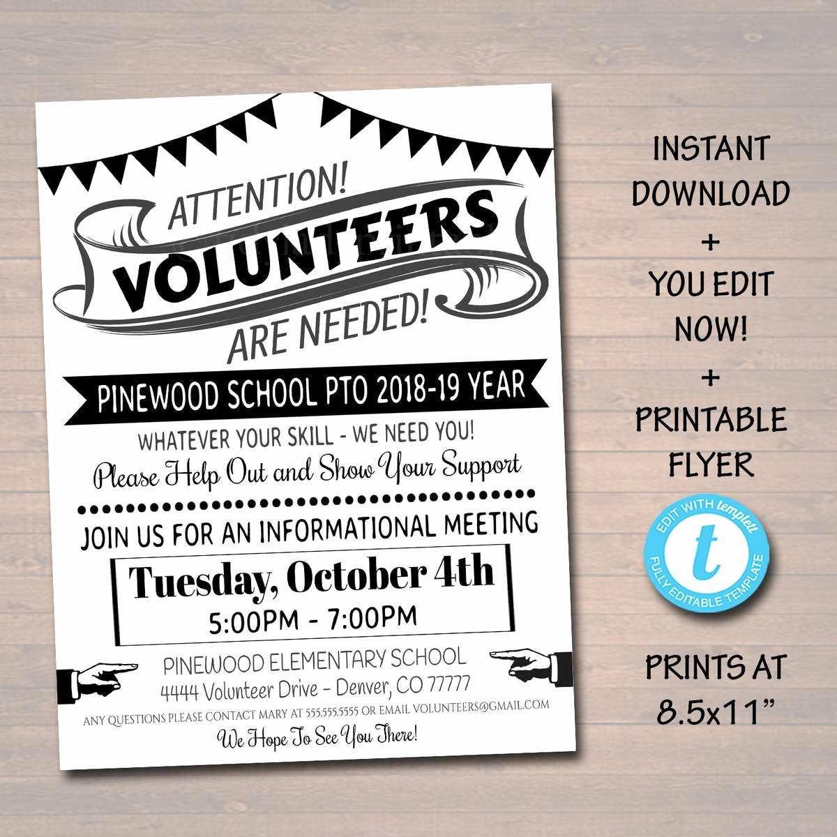 Volunteer Recruitment Plan Template Luxury Editable Volunteer Recruitment Flyer Printable Handout School Fundra – Tidylady Printables