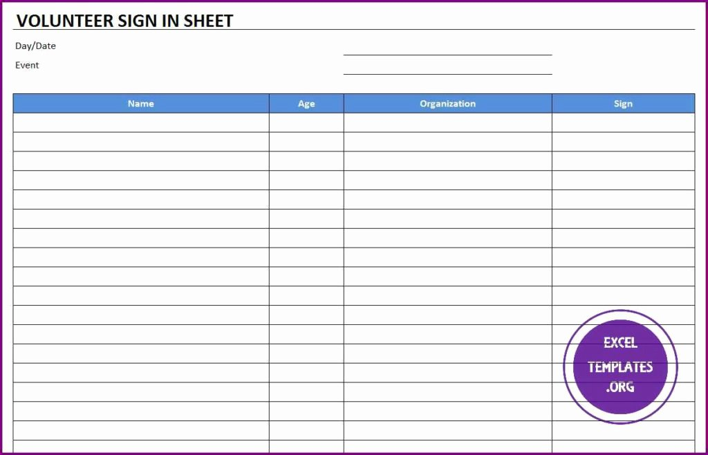 Volunteer Sign In Sheet Best Of Volunteer Sign In Sheet Template Excel Templates