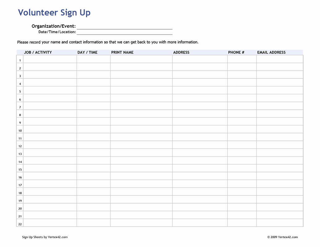 Volunteer Sign In Sheet Elegant Free Printable Volunteer Sign Up Sheet Pdf From Vertex42