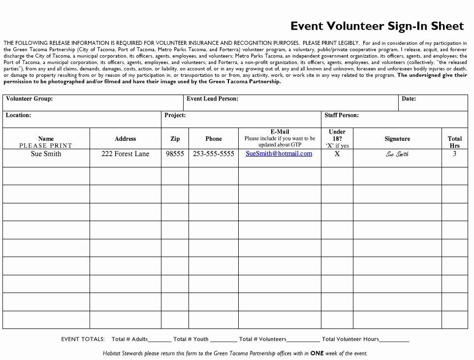 Volunteer Sign In Sheet Fresh 10 Free Sample Volunteer Sign In Sheet Templates Printable Samples