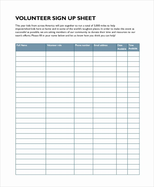 Volunteer Sign In Sheet Fresh Sample Sign In Sheet 13 Examples In Pdf Word