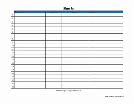 Volunteer Sign In Sheet Inspirational Free Simple Volunteer Sign In Sheet with Signature Wide From formville