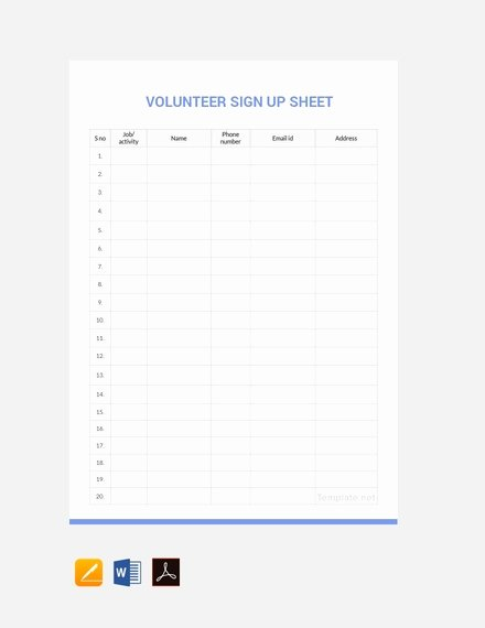 Volunteer Sign In Sheet Luxury 14 Sign Up Sheet Examples Templates In Word Pages Docs