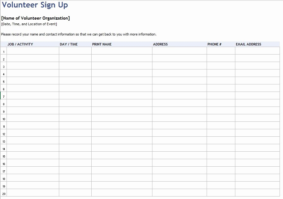 Volunteer Sign In Sheet Luxury 9 Free Sample Volunteer Sign Up Sheet Templates Printable Samples