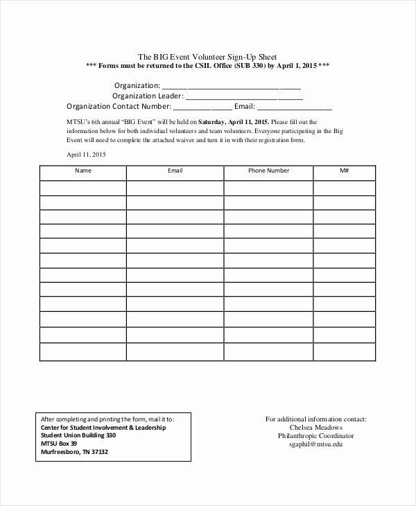 Volunteer Sign In Sheet Unique event Sign Up Sheet Template