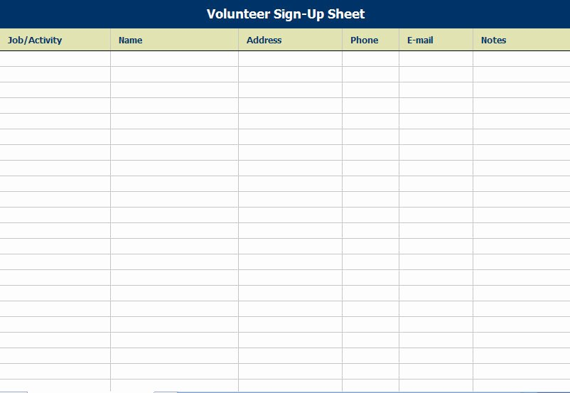 Volunteer Sign In Sheet Unique Volunteer attendance Sign In Sheet
